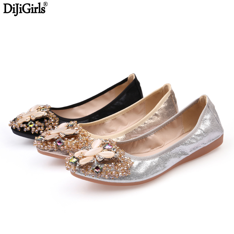 Big Size 35-43 Silver /Gold Women Leather Flat Shoes Fashion Rubber Soles Slip On Shoes For Women Rhinestone Ladies Flat Shoes<br>