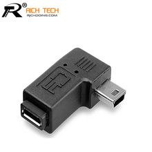 MINI USB male to Micro usb female connector 90 Degree micro extend adapter 2pcs