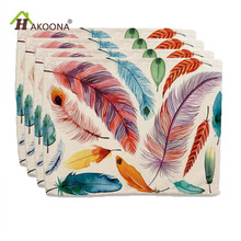 HAKOONA 4 Pieces Placemats Color  Feathers Indian Printed Table Napkins Cotton Linen Fabric Table Decoration Tea Towels 42*32cm