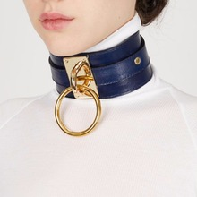 KMVEXO Women Men Cool 100% Handmade Oversized Choker Necklace Fetish O Round Metal Gold Leather Collar Bondage Harness Necklace