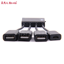 Hot sale 1pcs 4 Port Micro USB Power OTG Hub Cable Connector Spliter For Smartphone Computer Tablet PC(China)