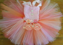 2PCS Pink Peach Coral Orange Baby Girl Tutu Dress with Flower Headband Fluffy Girl DressPastel Pink Peach Coral Knee Length Tutu