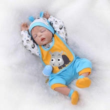 22inch Handmade Full Silicone Vinyl Reborn Babies Doll Lifelike Baby Reborns Toys Best Gift Toddler Gentle Touch Body Toy(China)