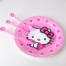 10pcs/lot Party Favors Plastic Hello Kitty Knives/Forks/Spoons for Kids Children Birthday Party Decoration Shower Decoration GYH