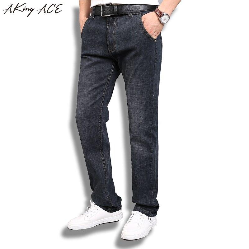 2017 AKing ACE Black Denim Jeans Men Brand Stretch Straight Jeans Pants Mens Classic Jeans Trousers Plus Size 40 42 ZA318Îäåæäà è àêñåññóàðû<br><br>