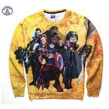 Mr.1991INC&Miss.GO 3d hoodies men spring autumn long sleeve sweatshirts cartoon The Avengers printed brand clothing