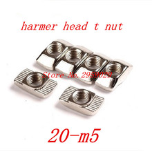 100pcs 20-M5 m5-20 5mm T Nut Hammer Nut Carbon Steel Nickel Plated T Fastener Sliding Nut Connector for 20 Aluminum Profile(China)