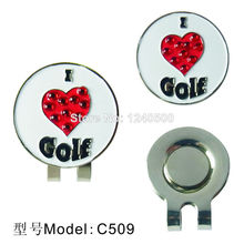 Free Shipping Brand New I Love Golf ball marker with Magnetic Hat Clip, 2pcs/lot