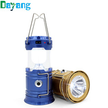Portable Led Flashlight Solar Camping Lantern 6LEDs Rechargeable Emergency Hand Lamp Tent Light Collapsible For Outdoor Lighting