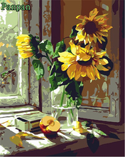 Hand painted Canvas Painting Coloring By Numbers DIY Digital painting On Canvas With Frame Wall Painting Flower Window Sunflower