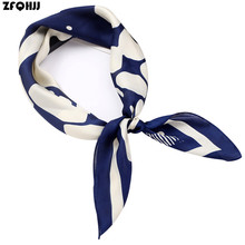 Women Striped Square Scarf Imitated Silk Scarves Leopard Stewardess Hostess Ladies Office Neckerchief Foulard Bandana 70x70cm