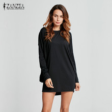 Fashion Womens Casual Loose Batwing Sleeve Long Tops Blouse One Shoulder Shirts Mini Vestidos Solid Black Oversized Tee ZANZEA(China)
