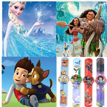 2 pcs Cartoon Watch Trolls Princess Anna Elsa Pink Pig Mickey Minnie Canine Patrol Dog Action Figures Watch Strap Kid Gift Toy