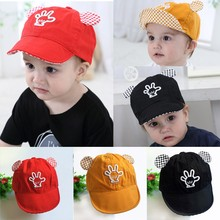 Summer Baby Baseball Hat Ears Palm Baby Baseball Cap Palm Cute Baby Boy Girl Beanies Soft Cotton Caps Infant Visors Sun Hat