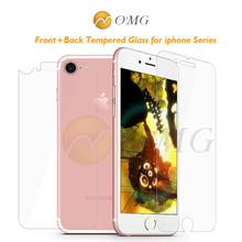 OMG 2pcs/lot Front + Back Tempered Glass for iPhone 7 6 6S 5 5S SE 4 4S 7 Plus Screen Protector case film 9H hardness protection
