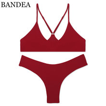 Buy BANDEA Bikini set 2017 High Quality swimwear women sexy bikini brazilian bikini Solid color halter swimsuit biquini Bathint Suit