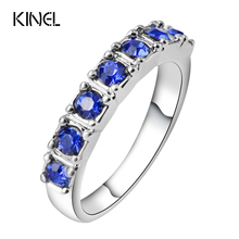 Kinel Vintage Blue Resin Rings For Women Birthday Party Gifts Punk Ring Color Silver Jewelry Wholesale