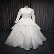 Real islamic Wedding Dress Long Sleeve Muslim Wedding Dress 2018 Layers of  Skirt Back Covered Bridal Gowns 3635b47b6358