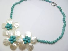 Fashion Jewelry 3 White Mother Pearl Shell Flower Turquoises Necklace(China)