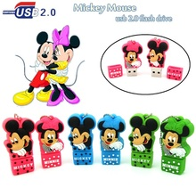 100% real capacity mini Lovely mickey mouse Minnie usb flash drive U disk 4g 8g pendrive 16g 32g memory stick cartoon pen drive(China)