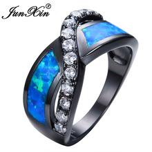 JUNXIN Unique Crossed Blue Fire Opal Rings For Women Men Black Gold Filled Wedding Party Engagement Promise Ring Valentine's Day