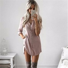LYNNSO Fall 2017 Autumn Casual Loose Long Sleeve Button Shirt Dresses Mini Vestidos Long Tops Blouses Plus Size