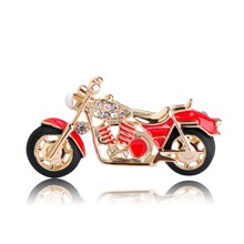 Blucome Cool Motorcycle Brooches For Boys Kids Gift Red Enamel Badge Costume Jewelry Backpack Pendant Model Cars Brooch Pins