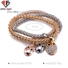 EPICFEAT Trendy Zinc Alloy Bracelet Three Sets for Women Fashion Owl Accessories with Zircon Lady Casual Match Jewelry FSH275
