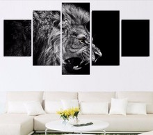 High Quality No Frame HD Printed lion white black Painting Canvas Print room decor print poster picture canvas drop shipping