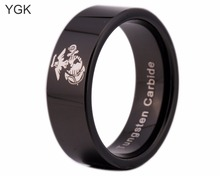 YGK Brand 8MM Black Pipe Army Ring USMC Design Men's Tungsten Comfort Fit Ring