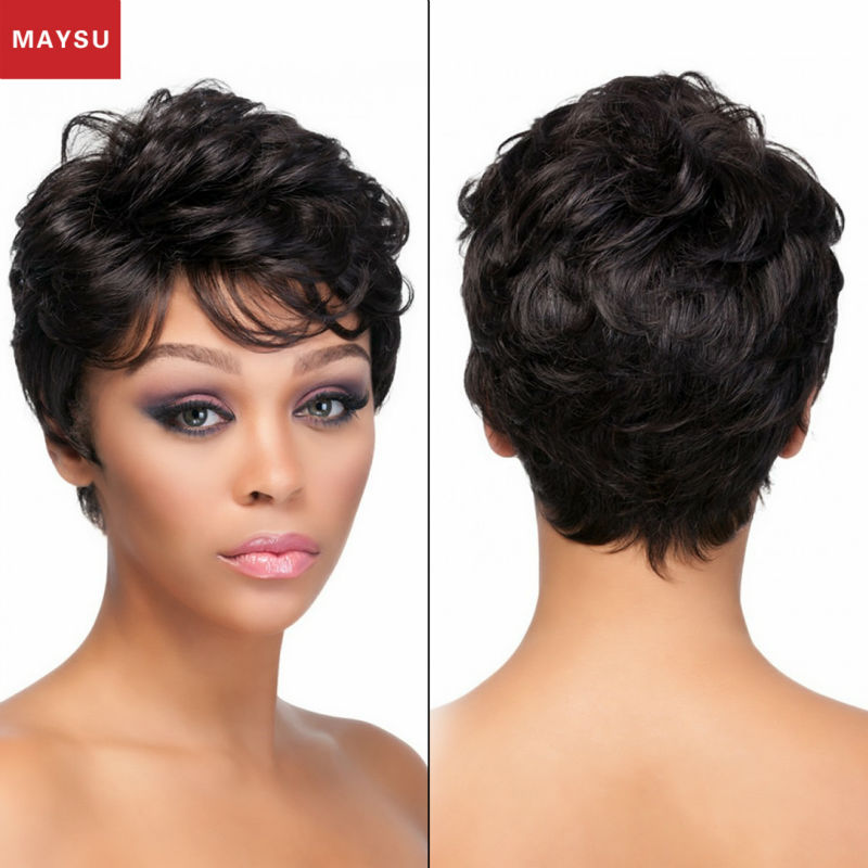 MAYSU Elegant Short Curly Human Hair Wigs For Black Women Hand Made Mono Top Anti-microbial Cap customized 14 Colors<br><br>Aliexpress