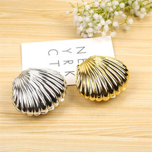 12pcs Shell Shape Chocolate Box Silver/Gold Plastic Candy Box Wedding Baby Shower Christmas Party Present Gift Packing Box