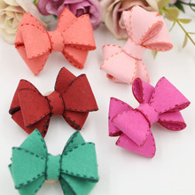 New Arrival 20PCS/Lot Handmade Leather Knot Bows DIY Jewelry Accessory Fit for Girls Headband Garment Brooch Hair Clips Decor