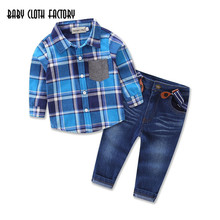 Autumn Kids Clothes 2PCS Plaid Long Sleeve Shirt and Denim Overalls Casual Suit Hot Sale New 2016 Fahion Boys Clothing Set