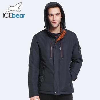 ICEbear 2017 Осень и Весна Новый Стиль Куртка Мужчины Парки  капюшон Съемный Обычного Ватник Бренд Одежды 17MC228D