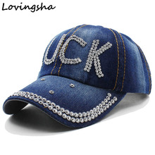 Lovingsha Rhinestones Children Baseball Cap High Quality LOVINGSHA Leisure Girl Demin cap Boy Vintage Jean Cotton Cap CC118(China)