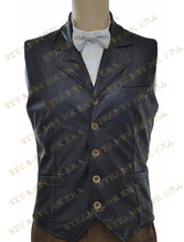 Free Shipping  Halloween Costume Cool Black Faux Leather Single Breasted  Victorian Steampunk Waistcoat