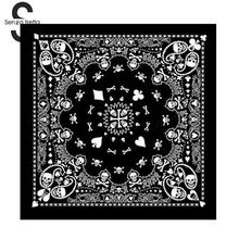 Senza Fretta Cotton Skull Bandana Square Scarf Black Paisley Bicycle Headband Printed Scarf For Women/Men/Boys/Girls DWW9353(China)