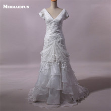 2017 Real Photos Mermaid V neck V Back Lace Organza Beautiful Wedding Dress Custom Made Bridal Gown