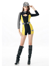 MOONIGHT 3 Pcs Sexy Car Racing Costume Women Long Sleeve Jumpsuit Personality Super Car Girl Fancy Dress Outfit(China)