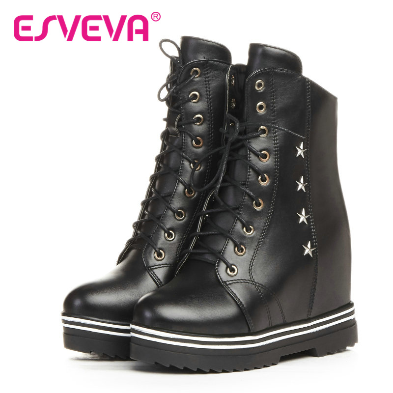 ESVEVA 2017 Black White PU Punk Style Women Shoes Wedges High Heel Beige Ankle Boots Round Toe Women Motorcycle Boots Size 34-43<br><br>Aliexpress