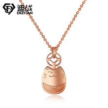Best Selling Smiling Lucky Totoro BRING YOU GOOD LUCK Cute Pendant Rose Gold Color Stainless Steel Cat Necklace For Woman