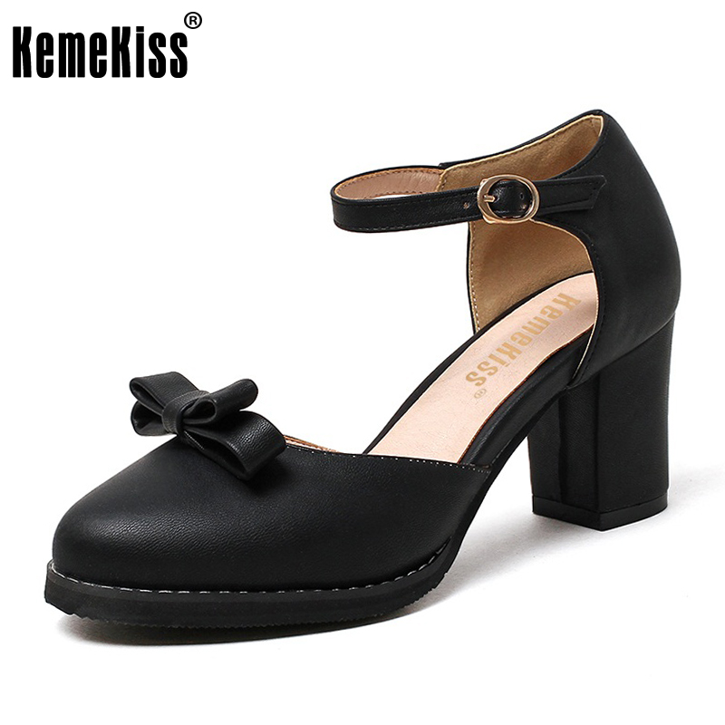 KemeKiss Size 32-43 Ladies Round Toe Sandals T Strap Bowknot High Heels Women Party Shoes Platform Fashion Office Lady Footwear<br>