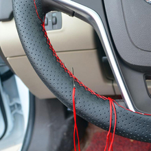LUNDA DIY Car Steering Wheel Cover With Needles and Thread Artificial leather Universal 38CM Size Black Grey Red