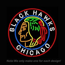 Chicago Black Hawks Neon Light Sign Real Glass Tube Neon Bulbs Beer Bar Pub Recreation Room Garage Sign Neon Sign Store 24x24(China)