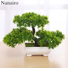 1pcs Artificial Bonsai Tree Welcoming Plant Potted Bonsai Fake Mini Flower Green Plant Pine Pot Vase Wedding Home Decoration