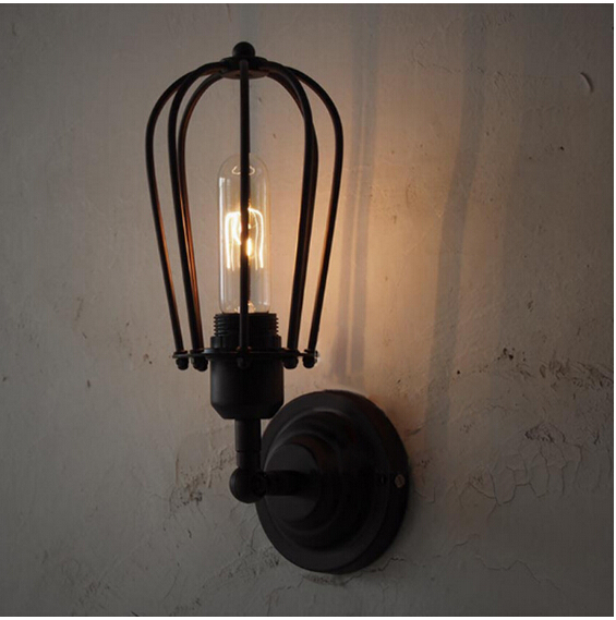Vintage RH Type single head Cages Wall Lamp Edison Light Bulb Fixture Cage sconce indoor lamp DY-1304<br><br>Aliexpress