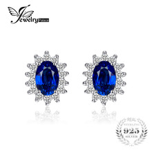 JewelryPalace 1.5ct Oval Blue Sapphire Earrings Stud 925 Sterling Silver Fashion Princess Diana Engagement Wedding Accessories(China)