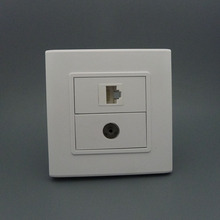 TV and RJ45 network wall plate
