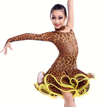 New style girls latin dance costumes senior sexy leopard single sleeves latin dance dress for girls latin dance dresses S-XXL